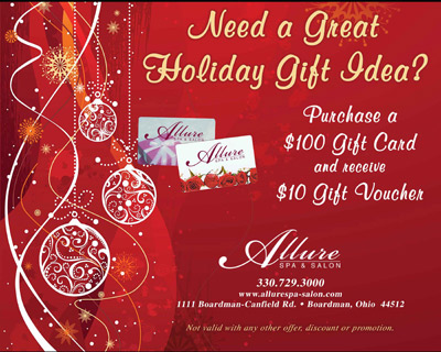 Gift cards allure spa salon for Beauty salon xmas offers